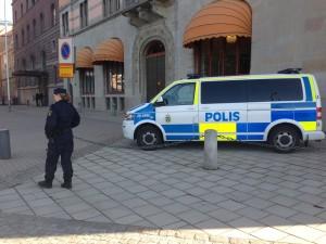 Polisen var på plats med en piket