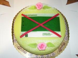 Tårtan som jag bjöd mina jobbarkompisar den dag jag blev av med  all pension från kassan