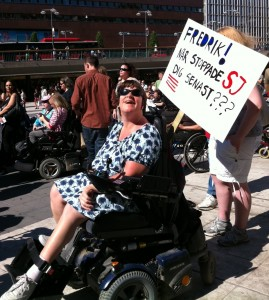 Demonstrant i Marschen för tillgänglighet 2011